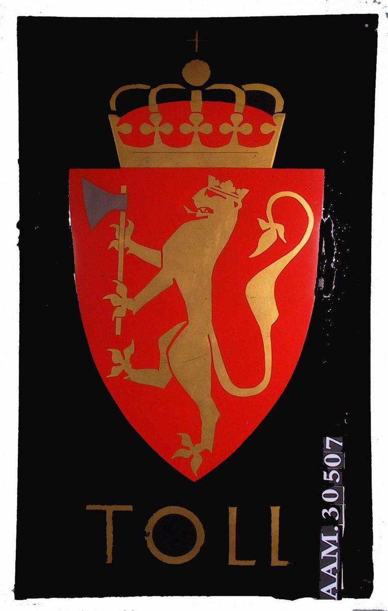 Riksvåpenet: Løve med hellebard, krone.