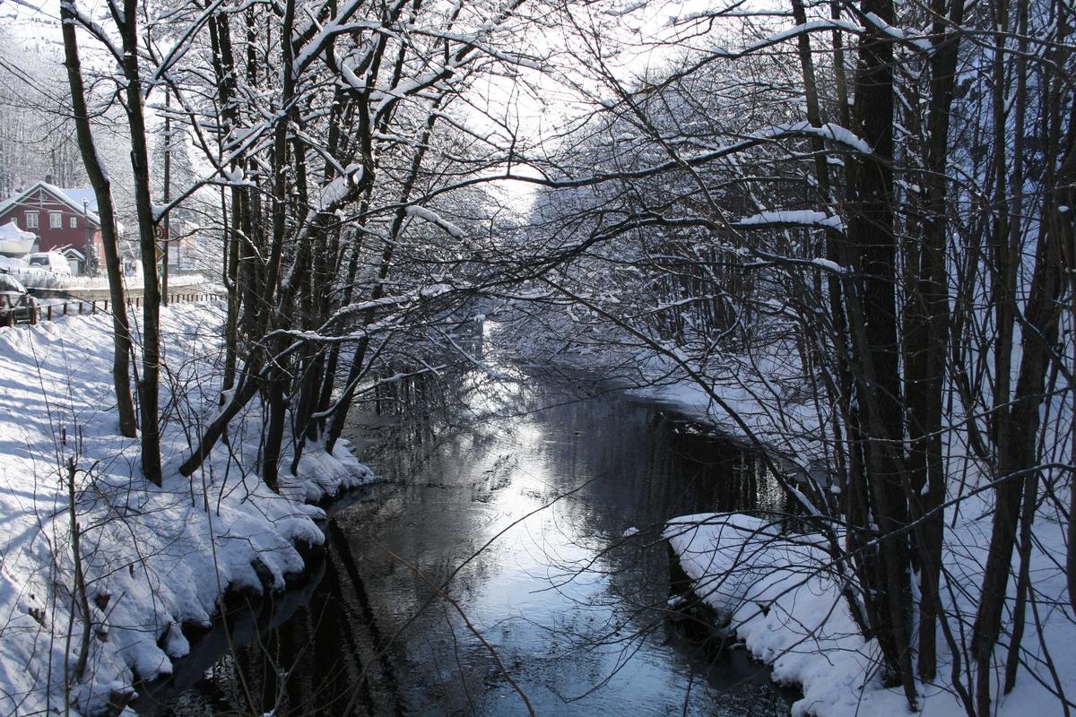 Langsæ mølledam. Åpent vann, ellers er landskapet dekket av snø. Bebyggelse skimtes t.v.