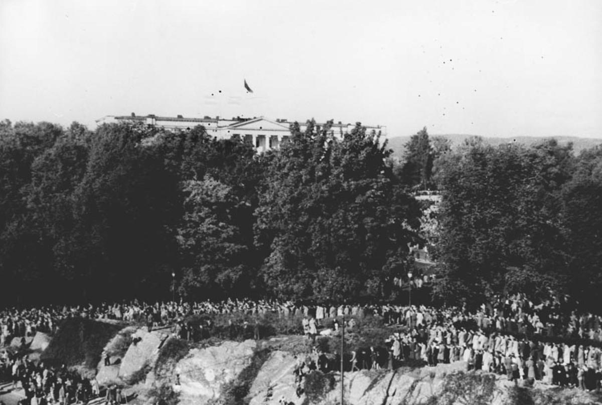 Kong Haakon den 7. Hjemkomsten i 1945. Folkmengden ved Drammensvegen i Oslo