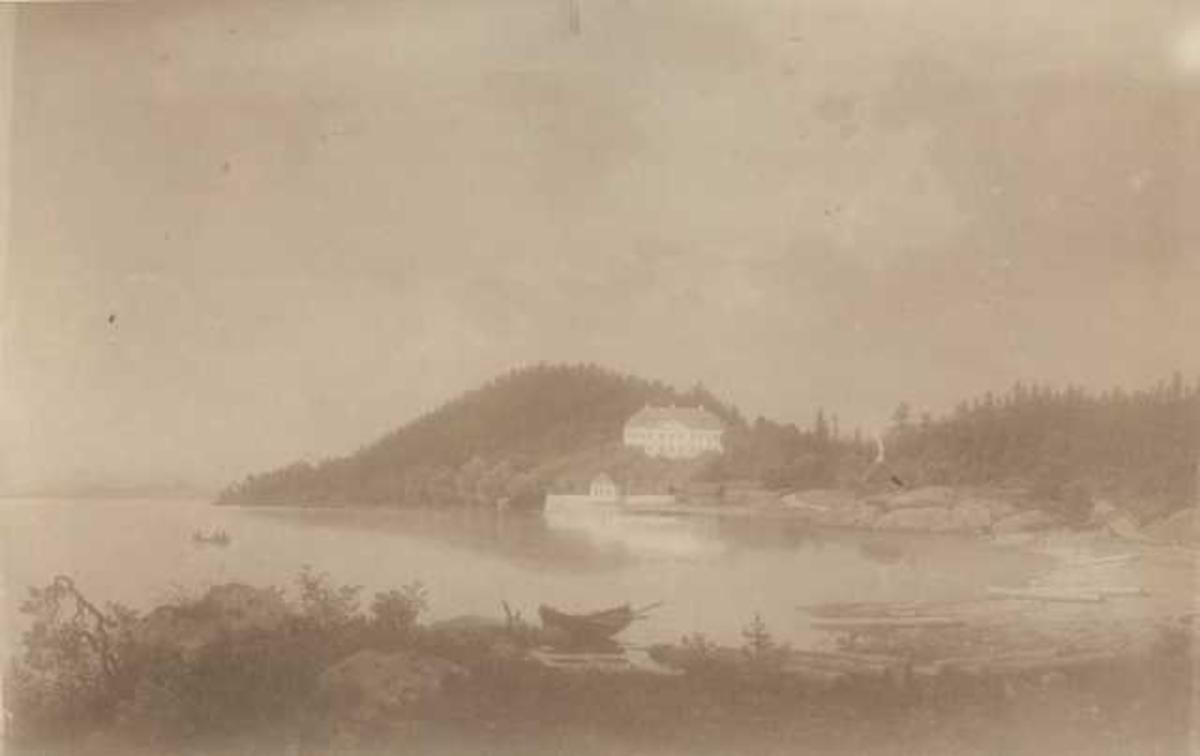 Stubljan, Oslo. Avfotografert maleri av huset og Hvervenbukta. Den kulturhistoriske Utstlling i Kristiania 1901.