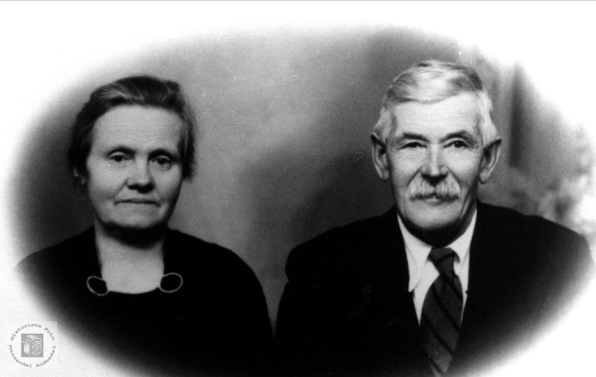 Portrett av ekteparet Sørine og Ole Birkeland, Laudal.