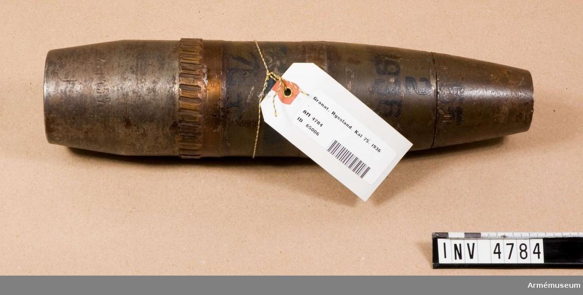 """Granat, Ryssland.Märkt """"38-4626-76-35 K 2, 1457+150 55 2 1936"""". Tändrör saknas."""