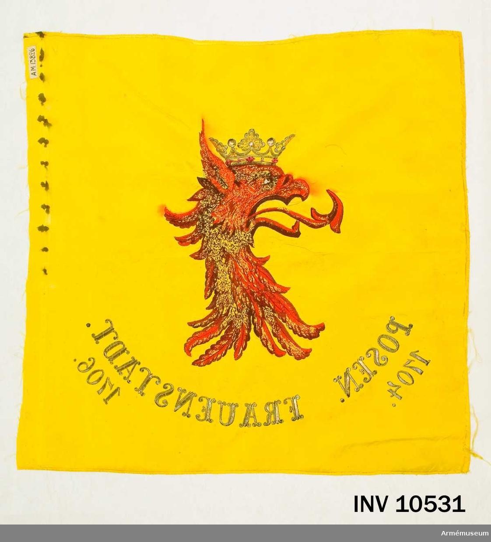 Grupp B.  En sida av ett dubbelsidigt standar, gult 4-skaftat fansiden med emblem: Skånes vapen krönt griphuvud, röd schattersöm med krona i guldbroderi med stenar i röd schattersöm. Därunder segernamnen POSEN 1704, FRAUENSTADT 1706 i guld.