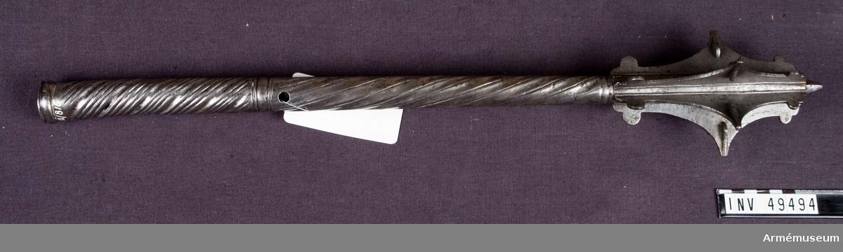 Grupp D I. Är helt av järn med skaft i spiralrägglat mönster. Sju päronformade vingar, i mitten en förstärkt spets. En av vingarna saknas. Avslutas upptill i en kort fyrkantig spets. Av mellaneuropeisk typ.