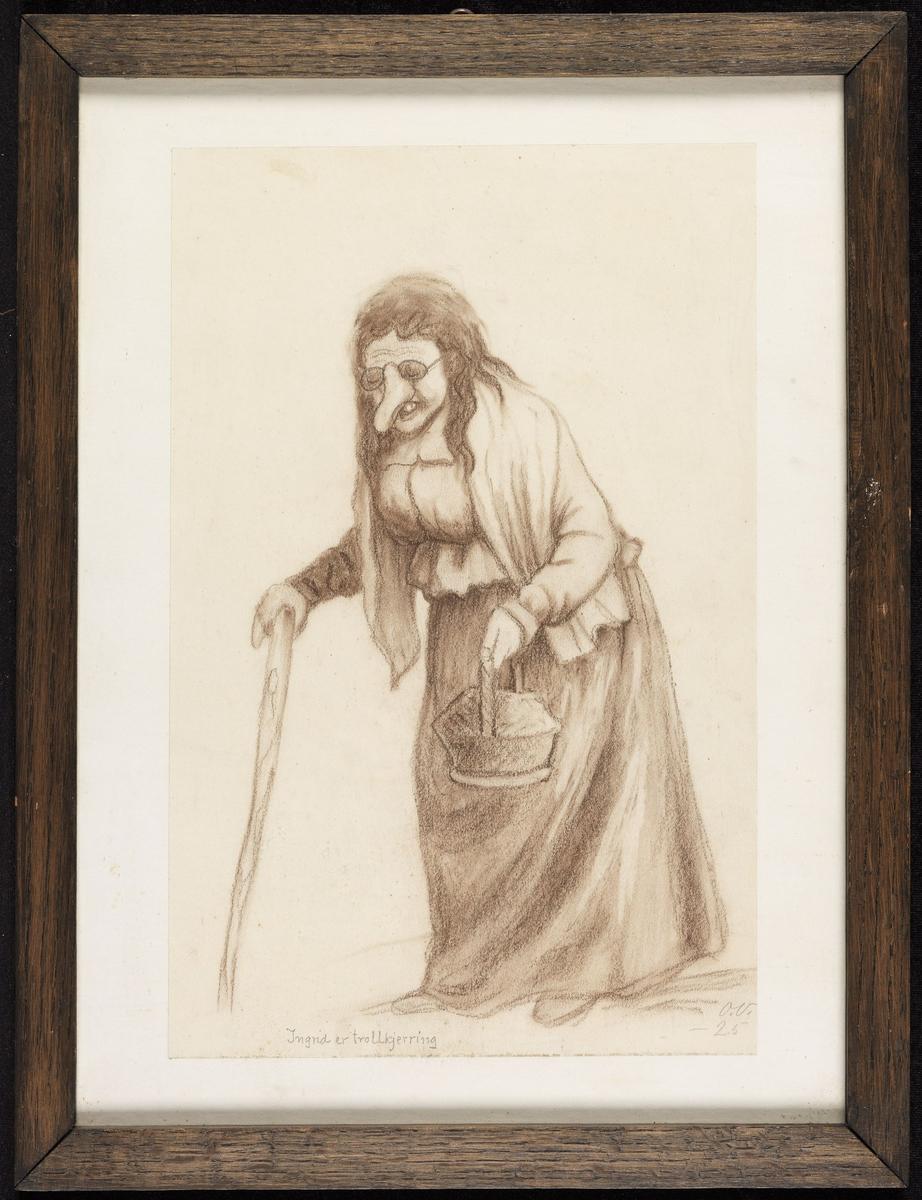 Gammel kvinne m. lang nese, gående, venstrev., stokk i den ene hånden, kurv i den andre.