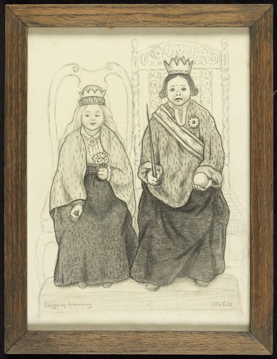 2 gutter sittende, frontale, m. krone på hodet, rokkokko- og barokkstol.