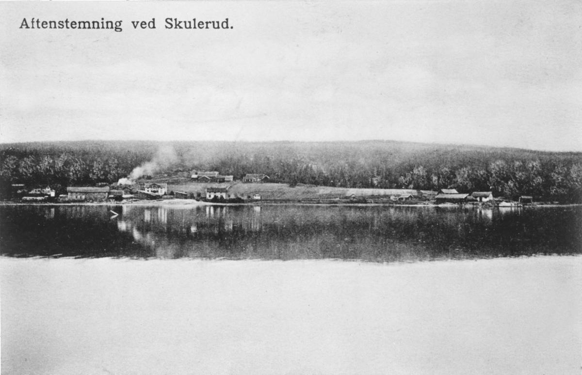 Aftenstemning ved Skulerud. Skulerud stasjon og brygge sett fra Skulerudsjøen.